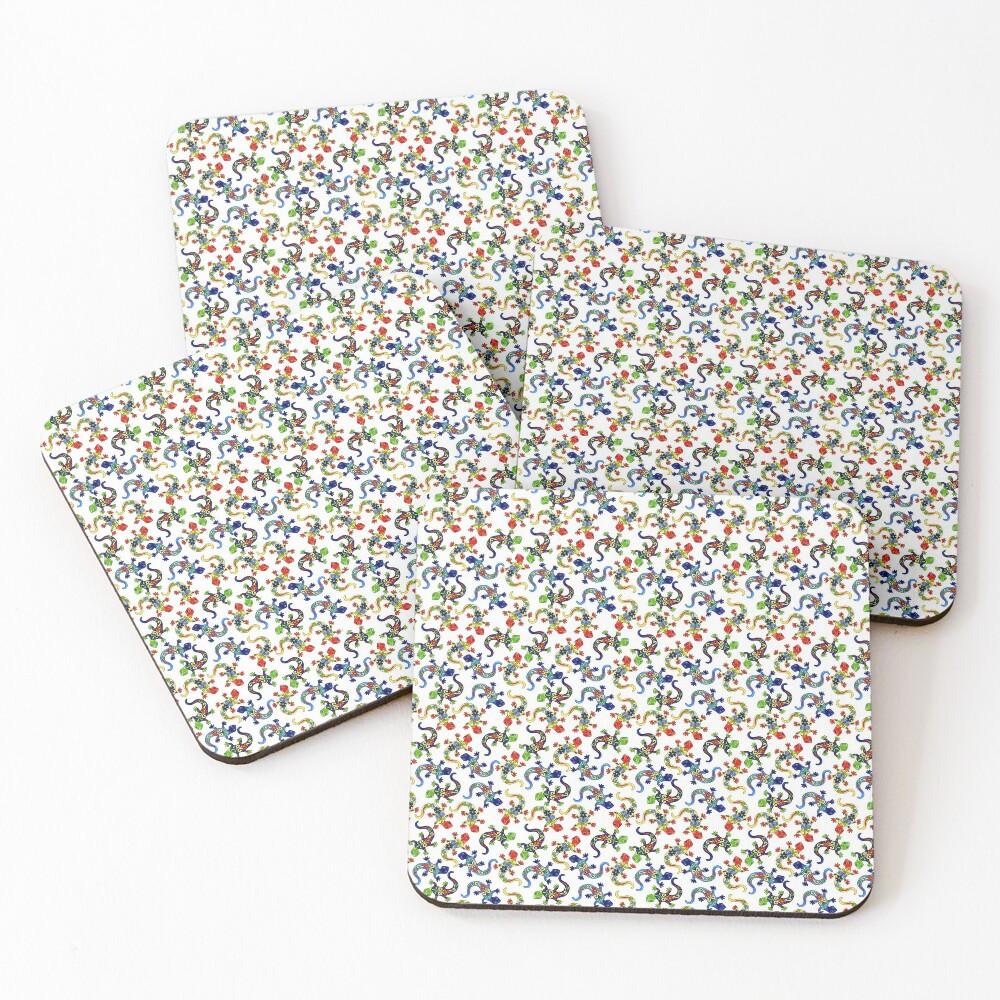 Gecko Vibrant Multi Print Coasters (Set of 4)