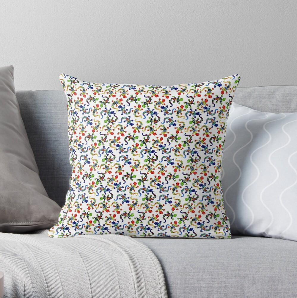 Gecko Vibrant Multi Print Throw Pillow