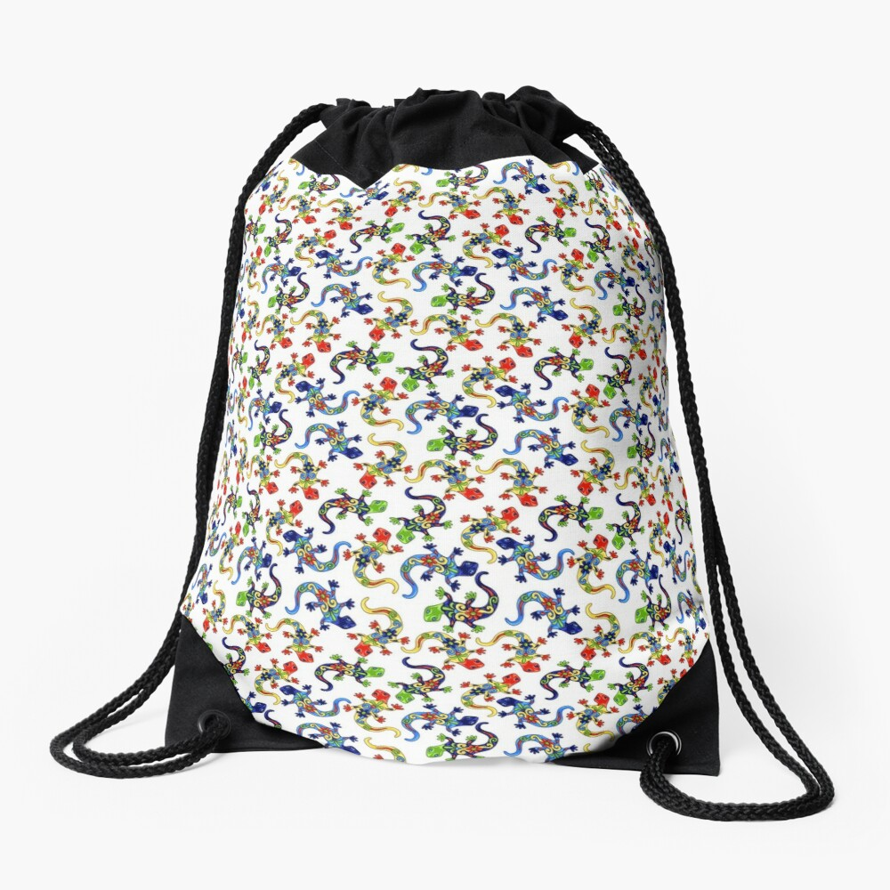 Gecko Vibrant Multi Print Drawstring Bag