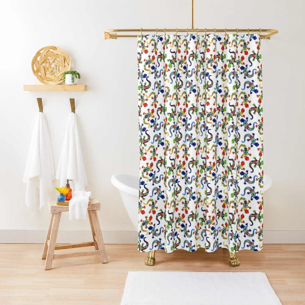 Gecko Vibrant Multi Print Shower Curtain