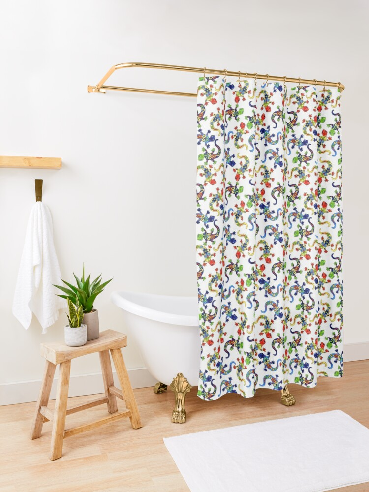 Alternate view of Gecko Vibrant Multi Print Shower Curtain