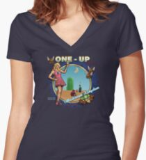 Mushroom Kingdom Women's Fitted V-Neck T-Shirt