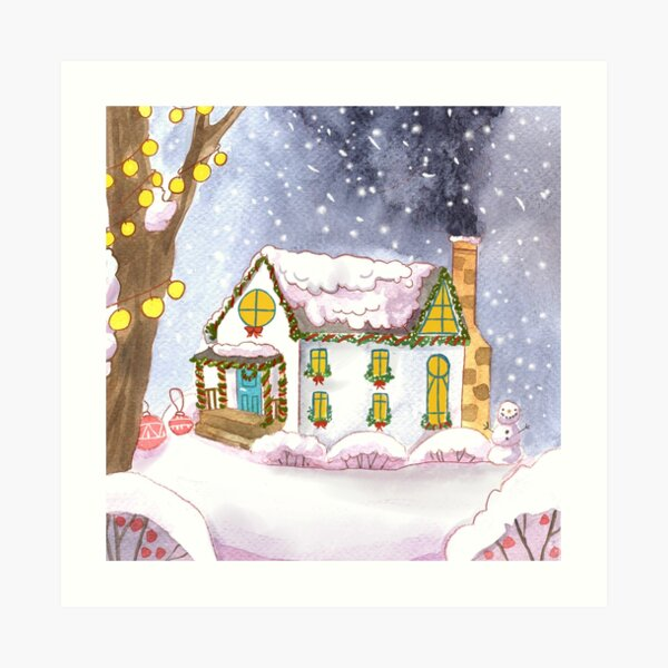 Cozy Winter Home on a Snowy Christmas Morning Art Print
