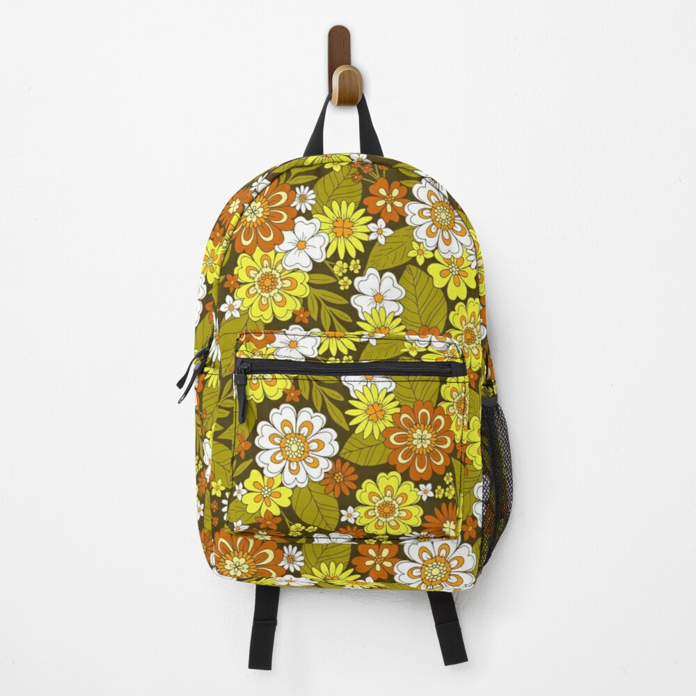 Retro Flower Power 1970s Hippie Floral Backpack