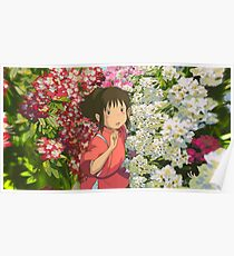 Running through the Flowers - Spirited Away Poster