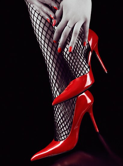 Woman legs in sexy red high heels and stockings art photo print ...