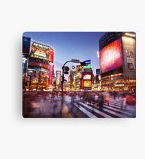 People on busy interesection Shibuya station Tokyo Japan art photo print Canvas Print
