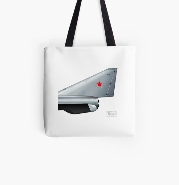 Soviet rocket fighter tail  All Over Print Tote Bag