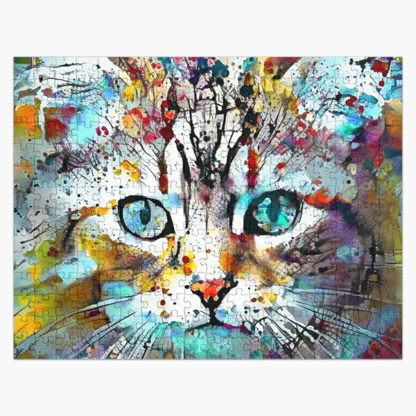 Abstractions of abstract abstraction of cat Jigsaw Puzzle
