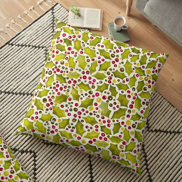 Christmas Holly and Berries Floor Pillow