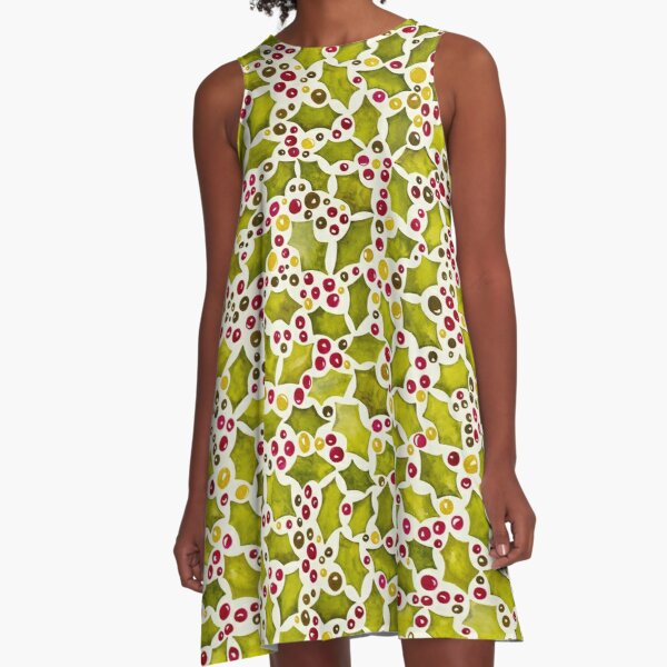 Christmas Holly and Berries A-Line Dress