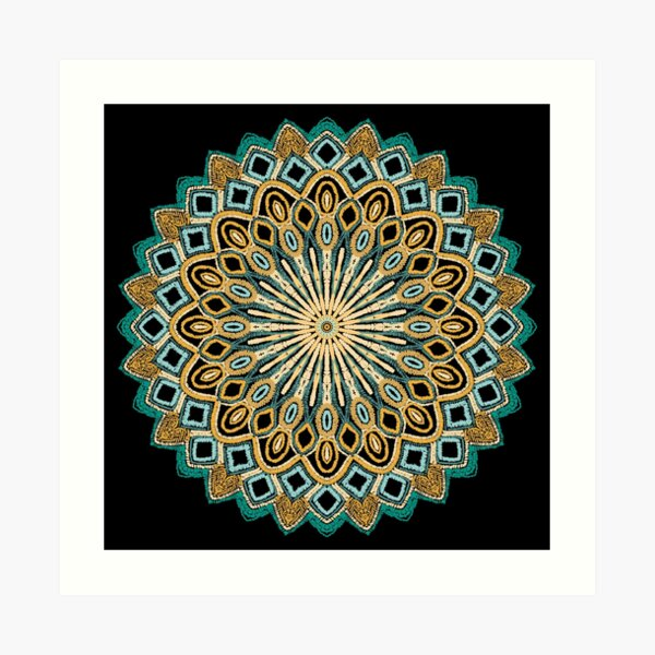 Teal and Gold Mandala Project 484 Art Print