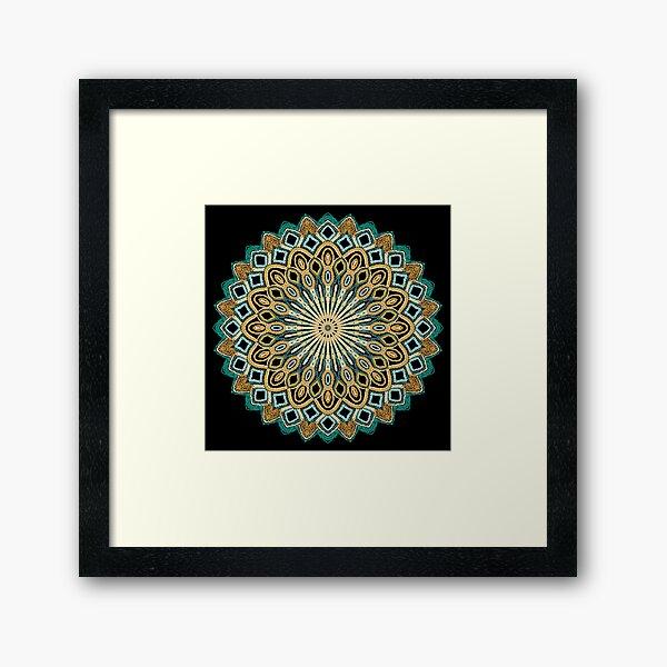Teal and Gold Mandala Project 484 Framed Art Print
