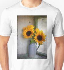 Sunflowers in a stone jar on a farmhouse window Unisex T-Shirt