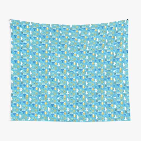 Happy Hanukkah Pattern with Menorah and Dove in Blue and Yellow Tapestry