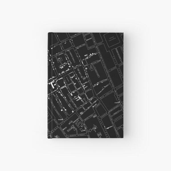 John Snow's Cholera Map (white-on-black) Hardcover Journal