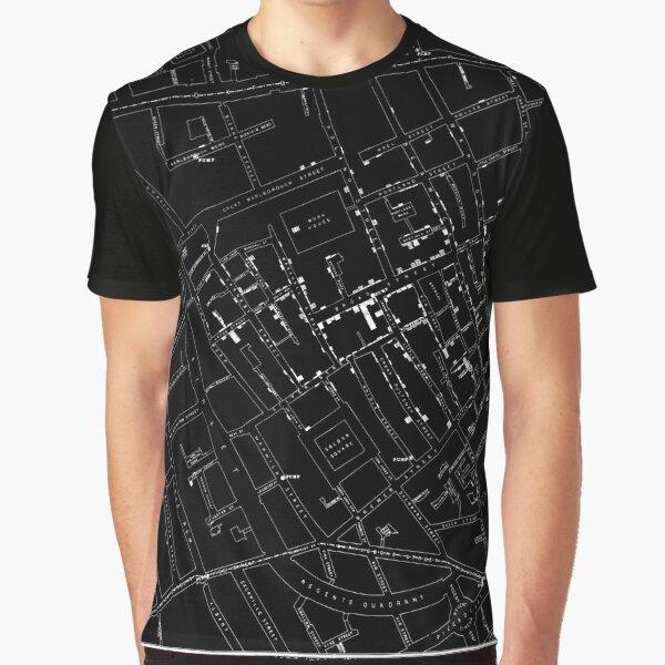 John Snow's Cholera Map (white-on-black) Graphic T-Shirt