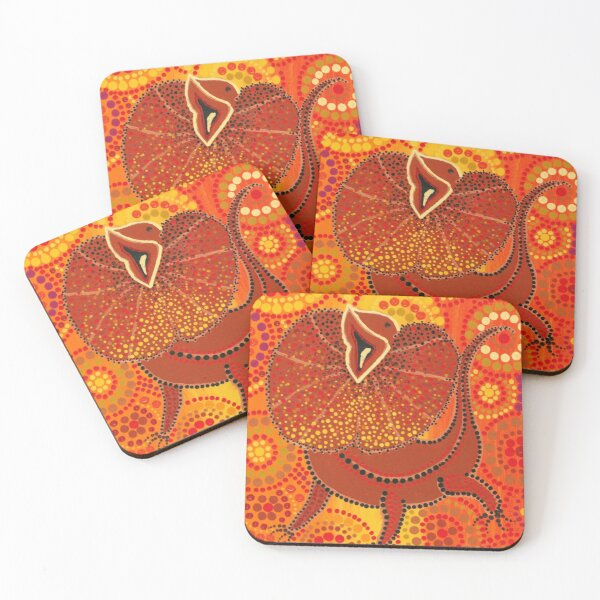 Frilled Neck Lizard Coasters (Set of 4)
