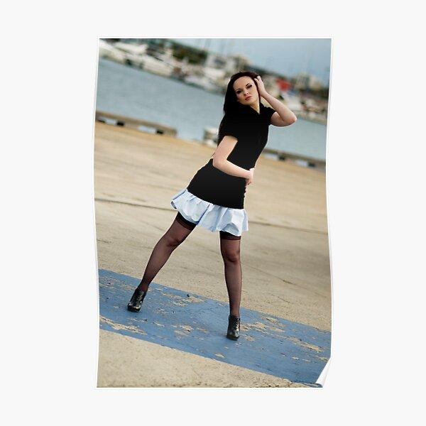 Anne Duffy Fashion Shoot Aqua Skirt Poster