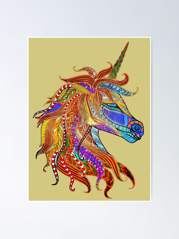 Unicorn Zentangle Art By Emglenda Print On Demand Poster By Crimsonbamboo Redbubble