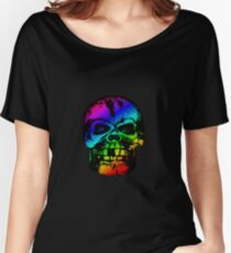 Rainbow Gradient Skull Women's Relaxed Fit T-Shirt