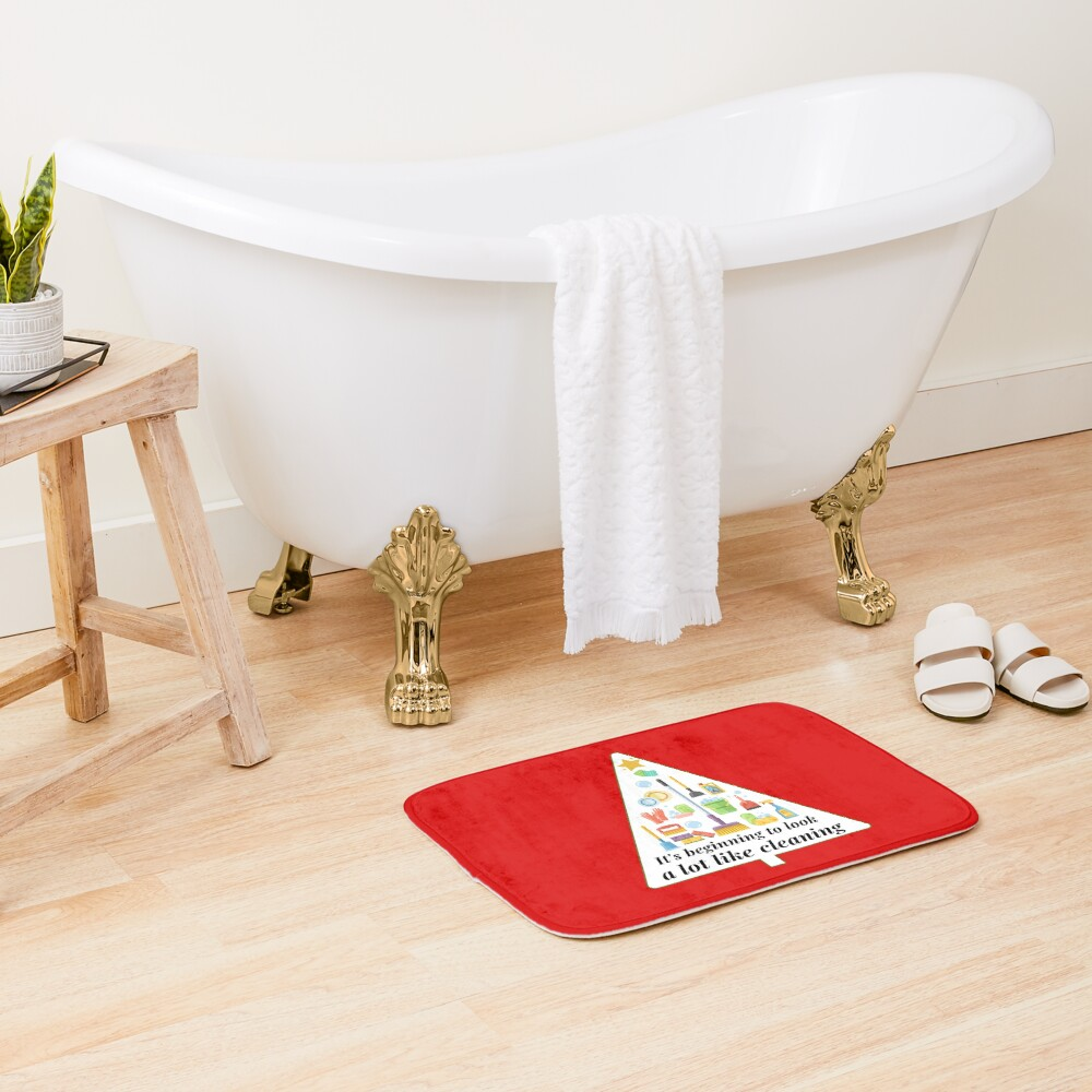 Look A Lot Like Cleaning Funny Housekeeping Christmas Bath Mat