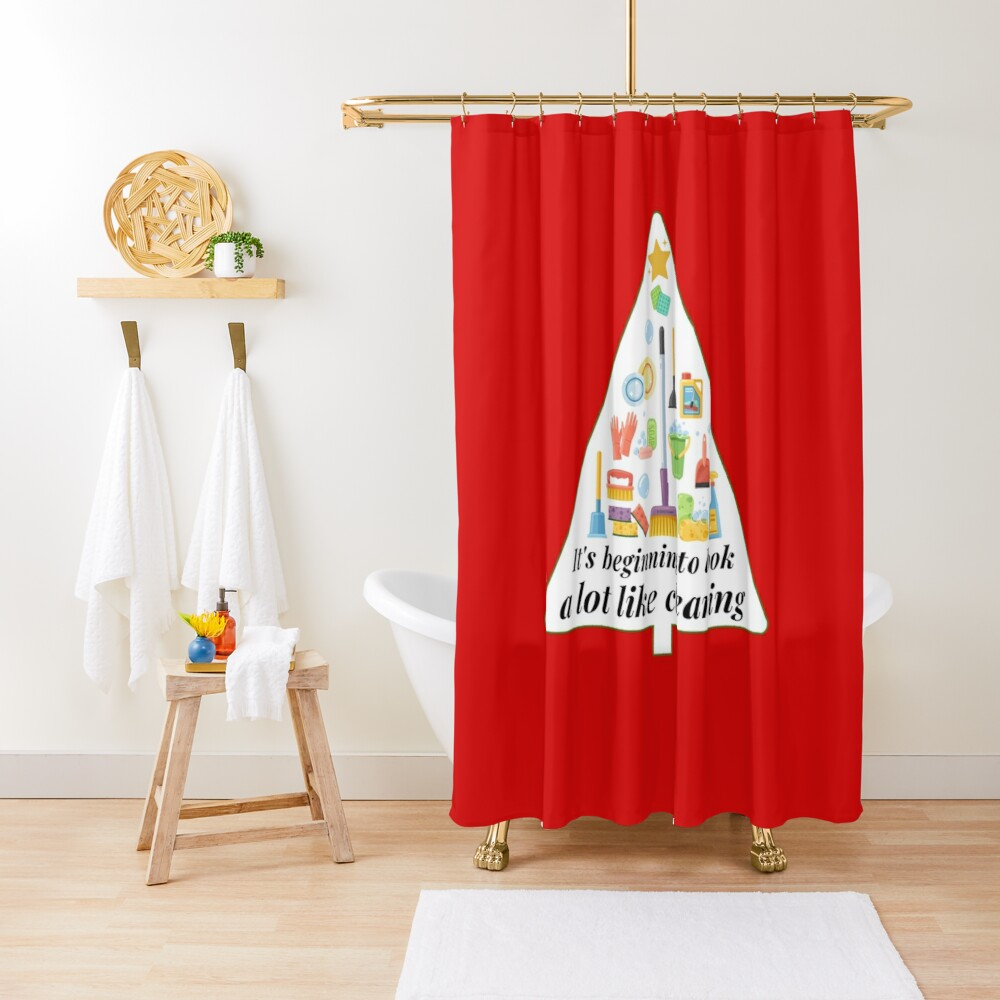 Look A Lot Like Cleaning Funny Housekeeping Christmas Shower Curtain