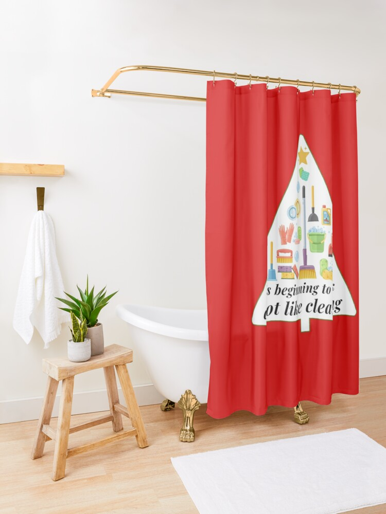 Alternate view of Look A Lot Like Cleaning Funny Housekeeping Christmas Shower Curtain