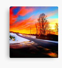 Sunset in snow Canvas Print