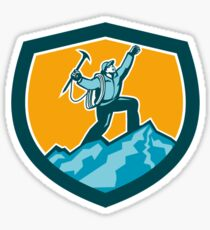 Mountain Climber Reaching Summit Retro Shield Sticker