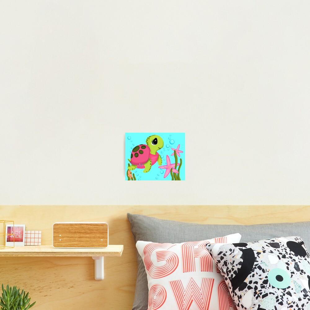 Pink Sea Turtle Starfish Ocean Scene Photographic Print