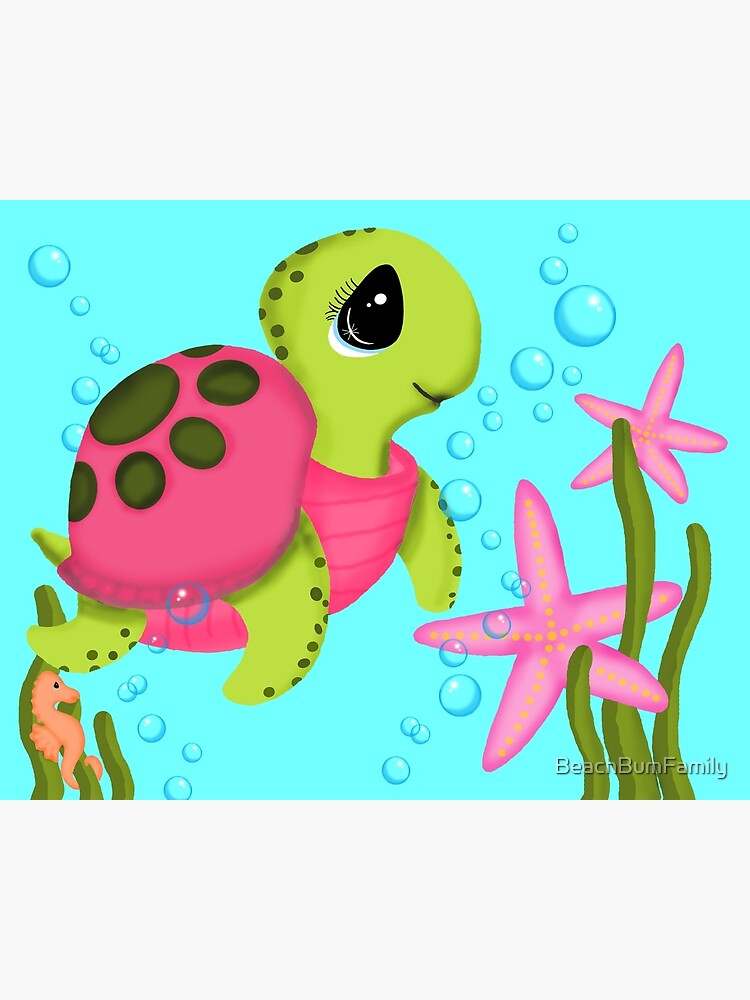 Pink Sea Turtle Starfish Ocean Scene by BeachBumFamily