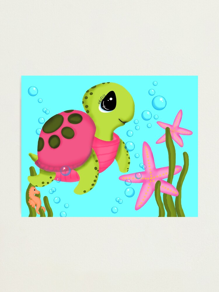 Alternate view of Pink Sea Turtle Starfish Ocean Scene Photographic Print