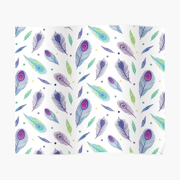 Purple Peacock Feathers en Masse Poster