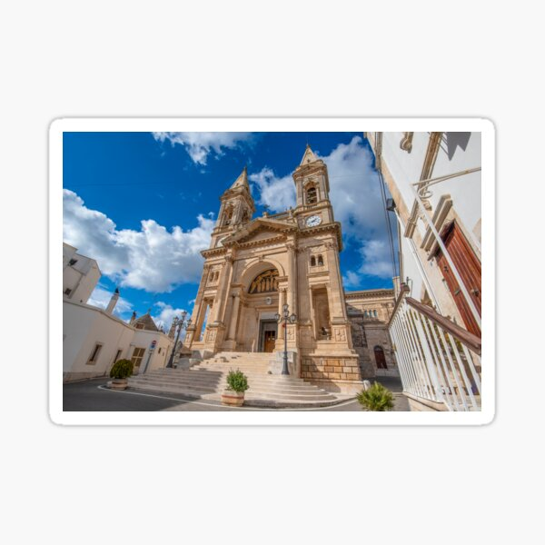 The cathedral of Saints Cosmas and Damian in Alberobello, Italy Sticker
