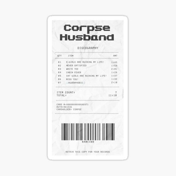 Corpse Husband Songs Quittung Sticker