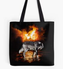 """Survivor"" Grey Wolf & Burning Forest Fire Tote Bag"