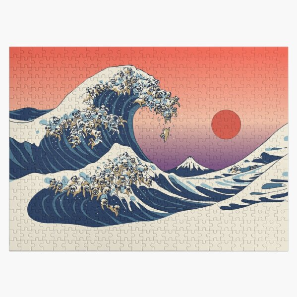 The Great Wave of Pug Jigsaw Puzzle