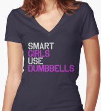Smart Girls Use Dumbbells (wht/pnk) Women's Fitted V-Neck T-Shirt