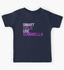 Smart Girls Use Dumbbells (wht/pnk) Kids Tee