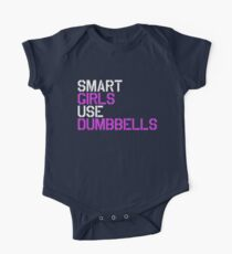 Smart Girls Use Dumbbells (wht/pnk) One Piece - Short Sleeve