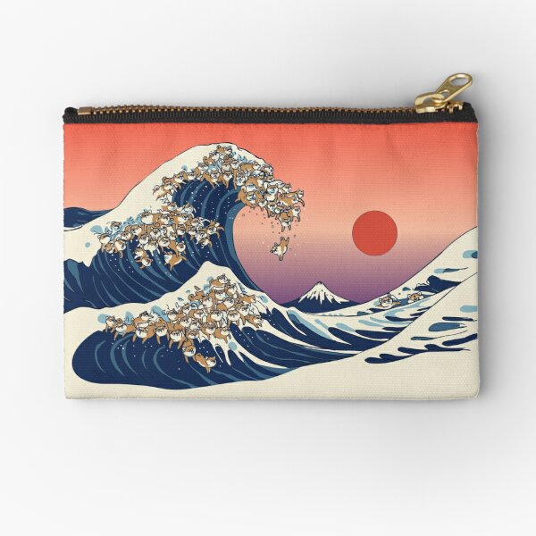 The Great Wave of Shiba Inu Zipper Pouch