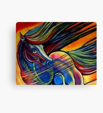 Sunset Mustang Horse Painting Colorful Artwork Canvas Print