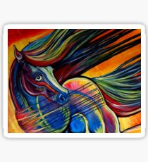 Sunset Mustang Horse Painting Colorful Artwork Sticker