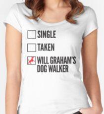 SINGLE TAKEN WILL GRAHAM'S DOG WALKER HANNIBAL Women's Fitted Scoop T-Shirt