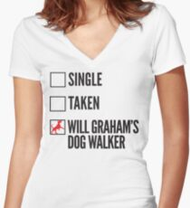 SINGLE TAKEN WILL GRAHAM'S DOG WALKER HANNIBAL Women's Fitted V-Neck T-Shirt
