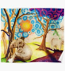 Psychedelic Elephants Poster
