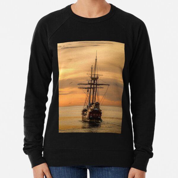 Sunset Sail Ship Lightweight Sweatshirt