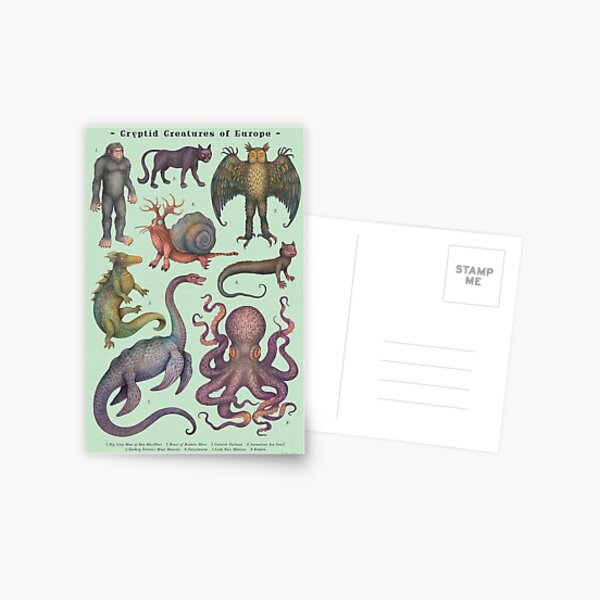 Cryptids of Europe, Cryptozoology species Postcard