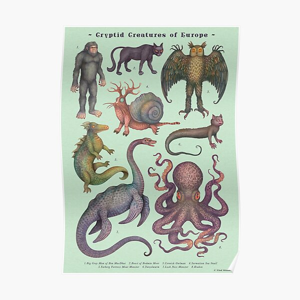 Cryptids of Europe, Cryptozoology species Poster